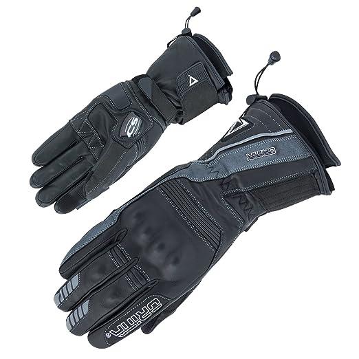 Gants d'hiver avec doublure en cuir & écran tactile étanche au vent