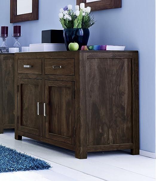 SAM® Wales 1509 Sideboard aus stonefarbenem Palisander Massivholz Handgearbeitet zwei Turen zwei Schubladen 95cm Breite