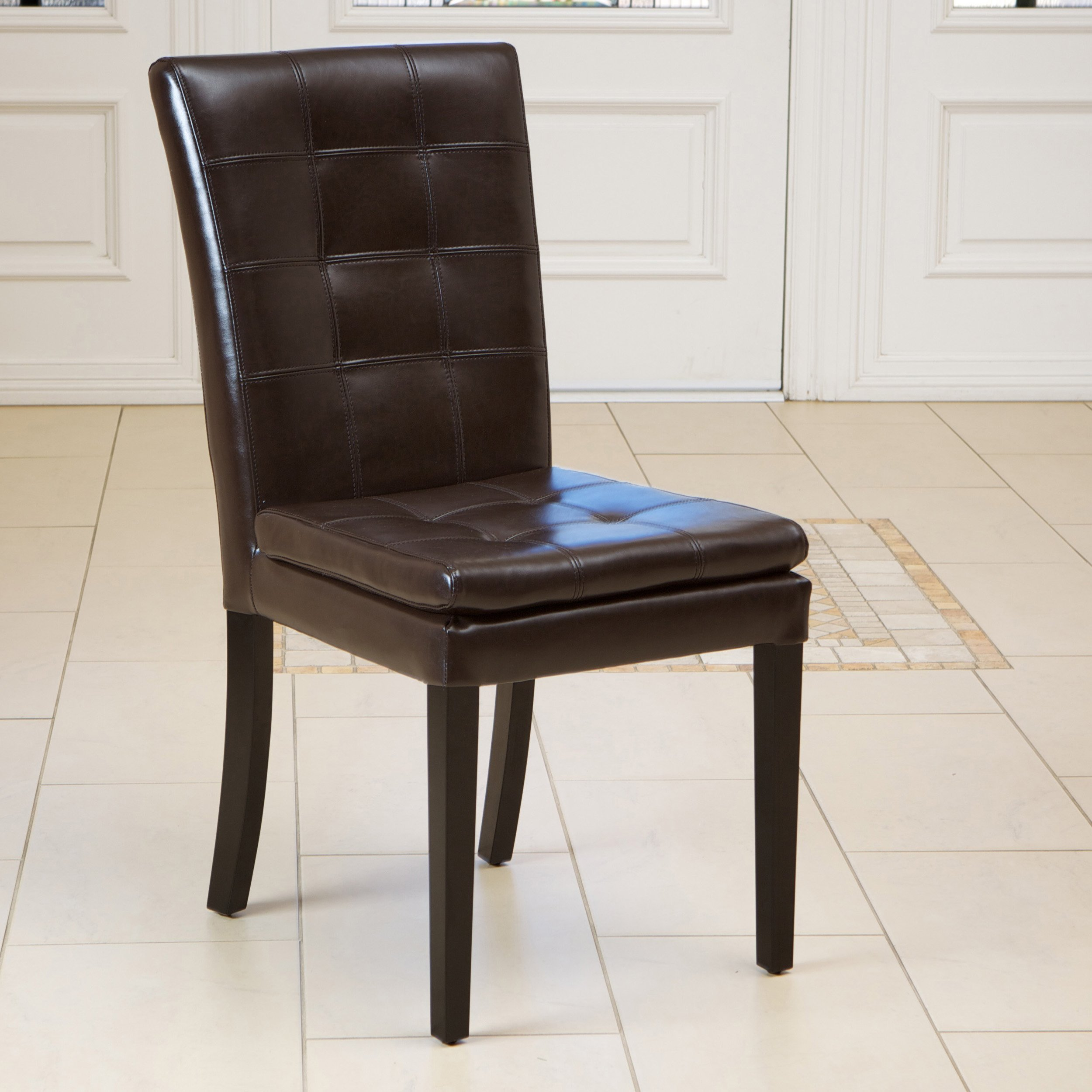 Barrington brown leather dining chairs set of 2 for Brown leather dining chairs