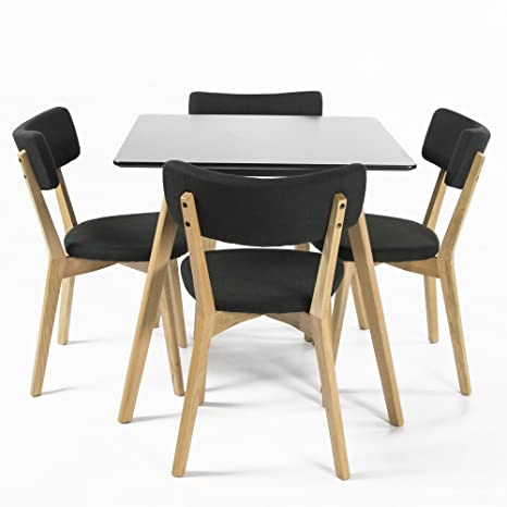 Charles Jacobs Solid Oak Leg Square Dining Lounge / Kitchen Black Dining Table + FOUR Padded Black Fabric Chairs with Solid Oak Wood Legs Complete Set