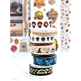 Paper House Productions SET0013 Harry Potter Washi Tape Bundle includes Five 15 mm Rolls Five 5 mm Rolls, Decorative Adhesive Tape (Tamaño: One Pack)