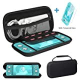 Ztotop for Nintendo Switch Lite Case and Tempered Glass Screen Protector 2019, Portable Travel Carrying Case Slim Protective Hard Shell Storage for Nintendo Switch Lite Games/Accessories, Black (Color: Black)