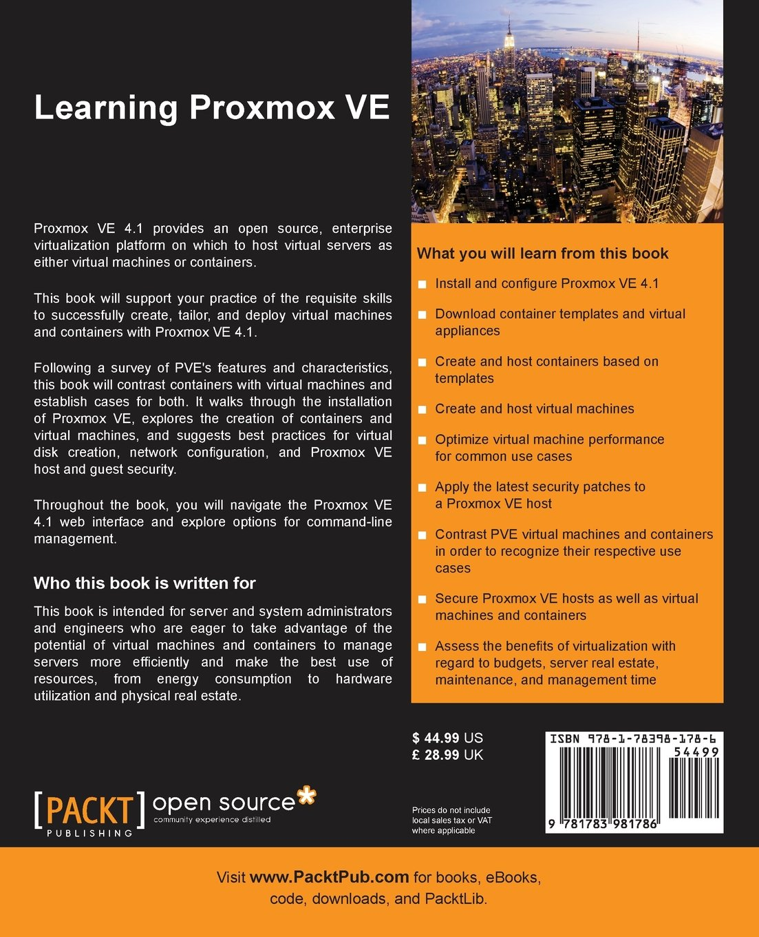 Back of the book: Orange and black with descriptive text