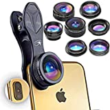 RETINA 7 in 1 IPhone Lens - Transform Your iPhone Into A Professional Quality Camera - Fish Eye - Wide Angle - Zoom for IPhone X, 8, 8 Plus, 7, 7 Plus, 6s, 6, 5s & Most Smartphone (Color: Midnight Black, Tamaño: 7 in 1)