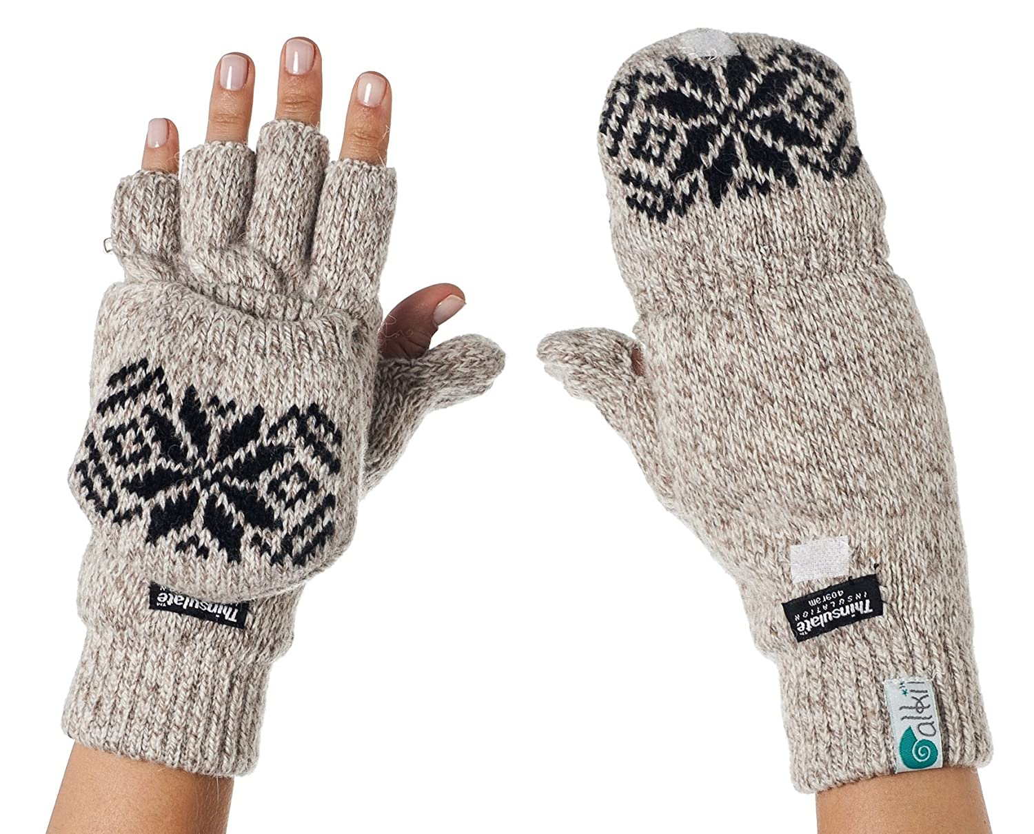 Alki'i 3M Thinsulate Thermal Insulation Fingerless Texting Gloves with Mitten Cover - Grey