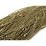50 CleverDelights Ball Chain Necklaces - Antique Bronze Color - 24 Inch - Jewelry Findings - 2.4mm Ball - Adjustable Antiqued Necklaces - 24