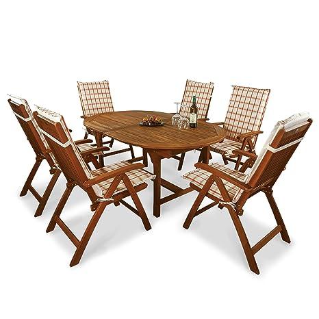 indoba® IND-70048-BASE7 + IND-70410-AUHL - Serie Bali - Gartenmöbel Set 13-teilig aus Holz FSC zertifiziert - 6 klappbare Gartenstuhle + ausziehbarer Gartentisch + 6 Comfort Auflagen Karo Orange