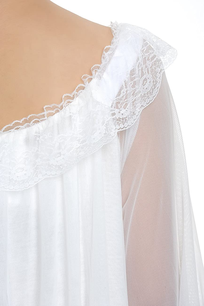 Latuza Women's Long Sheer Vintage Victorian Nightgown with Sleeves 6