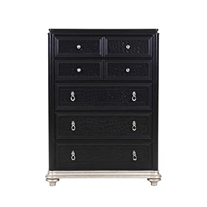Samuel Lawrence Avanti 8708-040 Drawer Chest with Decorative Hardware Molding Detail and Five Framed Functional Drawers with Faux Croc Front Panels in Black