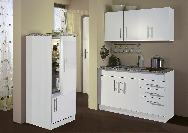 Held Möbel 907.6513 Single-Küche 180 mit 2-er Glaskeramikkochfeld und Kühlschrank mit Gefrierfach, weiß
