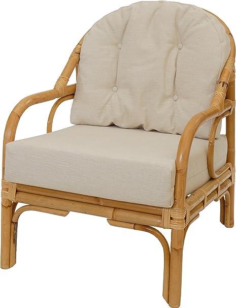 Mediterraner Wohnzimmersessel mit dickem Polster / Sessel aus ungeschältem Rattan-Naturmaterial