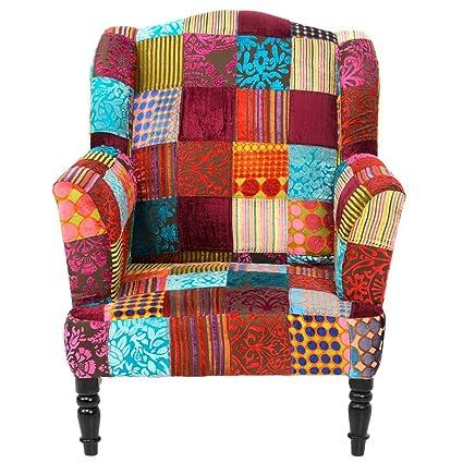 Patchwork Sessel Ohrensessel mit Armlehnen, Samt, bunt