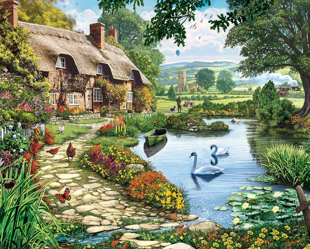 White Mountain Puzzles Lakeside Cottage - 1000 Piece Jigsaw Puzzle , New, Free S | eBay