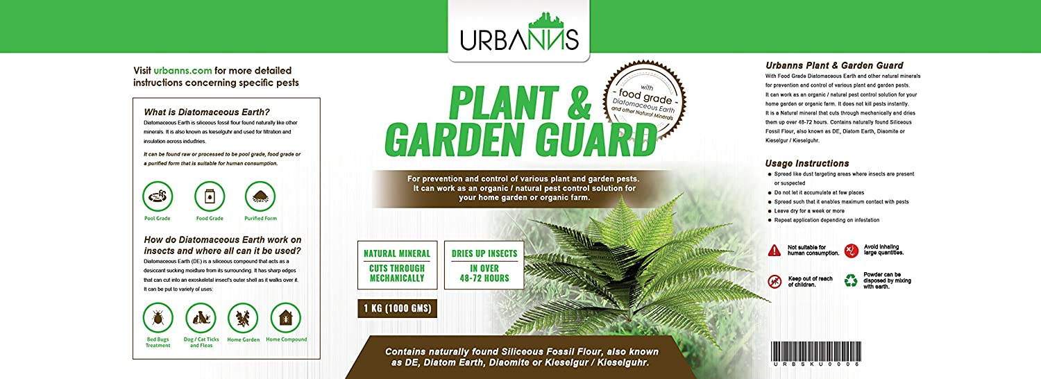 Diatomaceous earth in the garden - Urbanns Organic Plant And Garden Guard With Food Grade Diatomaceous Earth For Organic And Natural Prevention And Control Of Various Garden Pests Like Snails