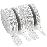 Foraineam 2 Rolls 8 Row 10 Yard & 2 Rolls 4 Row 10 Yard Rhinestone Ribbon Silver Diamond Bling Sparkle Ribbon Wrap (Color: Silver)