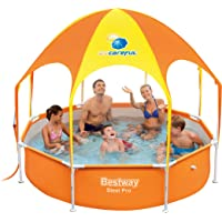 Bestway Splash Frame Pool in Shade with a Sun Canopy and Sprinkler