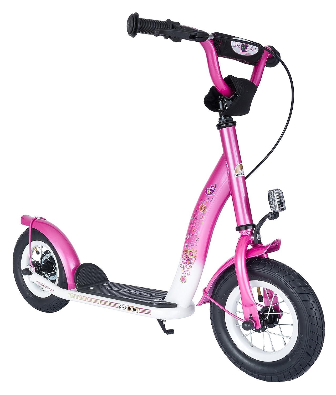 BIKESTAR® Premium Mädchentraum Kinderroller für sichere und sorgenfreie Spielfreude ab 5 Jahren ★ NEU 2015 ★ 10er Classic Modell ★ Flamingo Pink & Diamant Weiß als Geschenk