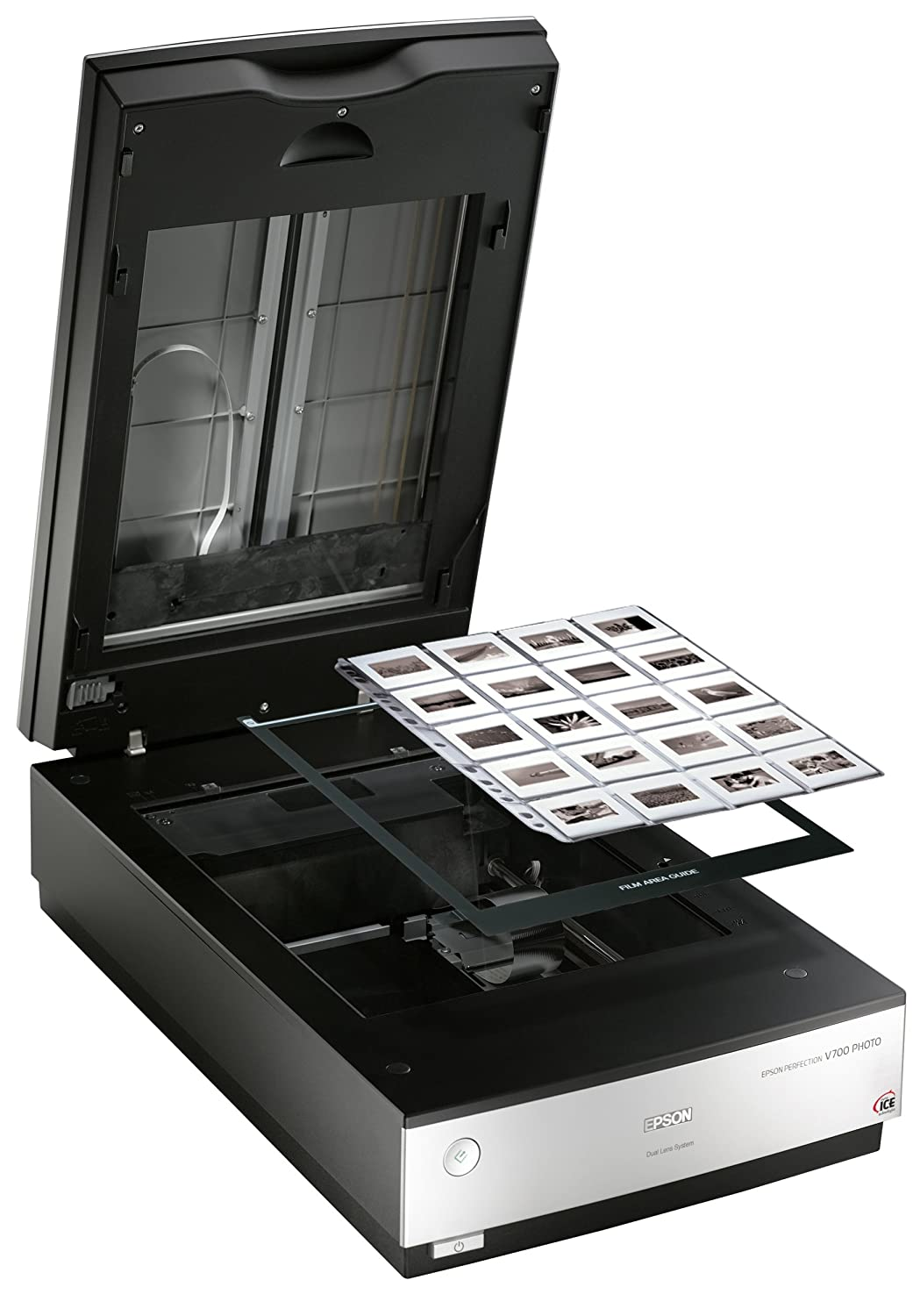 Epson Perfection V700 Photo Scanner - geöffnet mit Dias