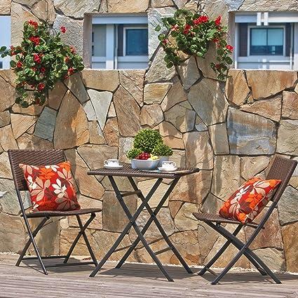 Terrazza Balcone Mobili Pieghevole Bistro Set mobili Set, legno resina e rattan tavolo da giardino, 3pezzi tavolo pieghevole e sedie