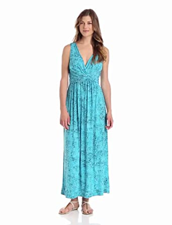 Chaus Women's Sleeveless Wrap Maxi Textures Dress, Cerulean, Small