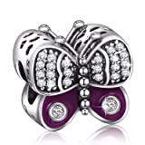 Angemiel 925 Sterling Silver Cubic Zirconia Sparkling Butterfly Charms Bead for European Snake Chain Bracelets (Color: Color 14)