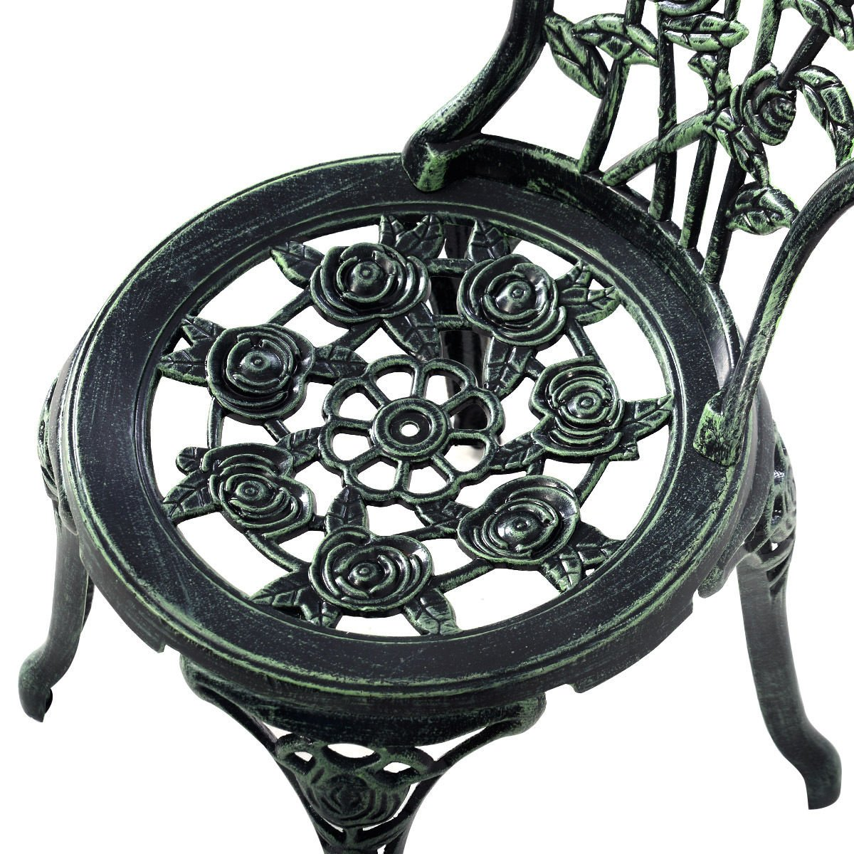 Giantex Patio Furniture Cast Aluminum Rose Design Bistro Set Antique Green (Green) 4