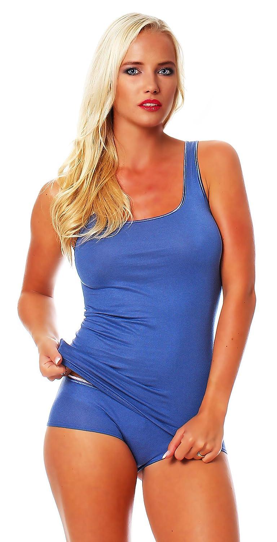 Damen Shirt ohne Arm, Achsel-Top Micromodal, Unterhemd von Schöller, Farbe Denim Blue / Jeansblau, Größen 38-50 online kaufen