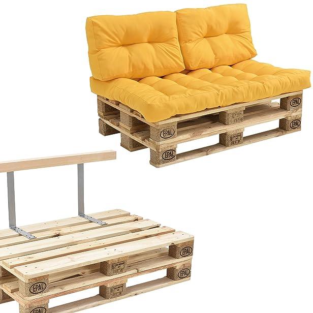 [en.casa] Divano paletta - a 2 posti con cuscini - (color senape) set completo incl. schienale