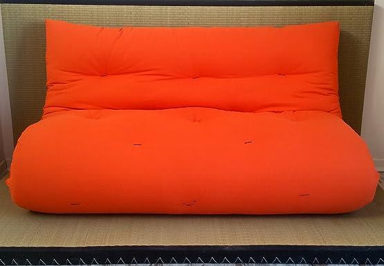 Divano letto futon double face base tatami colori rosso/arancio misura futon 160 x 200 cm
