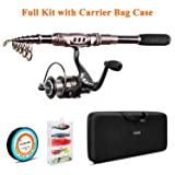 PLUSINNO Spinning Rod and Reel Combos Telescopic Fishing Rod Pole with Reel Line Lures Hooks Fishing Carrier Bag Case and Accessories Fishing Gear Organizer (2.1M 6.89FT Fishing Gear Organizer) (Color: Full Kit with Carrier Case, Tamaño: 2.1M 6.89FT)