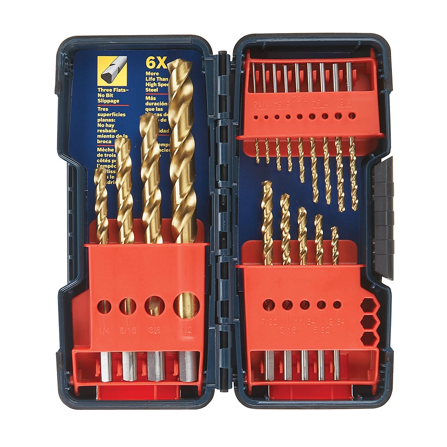 Bosch TI18 18-Piece Titanium Twist Drill Bit Set with Plastic Case $19.75
