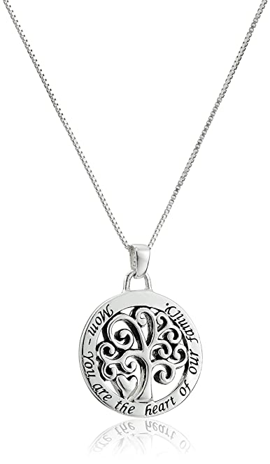 Sterling Silver 'Mom You Are The Heart Of Our Family' Reversible Family Tree Pendant