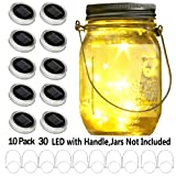 YITING Upgraded Solar Mason Jar Lid Lights, 10 Pack 30 LED Fairy Star Firefly String Lids Lights Including (10 pcs Hangers and 6 pcs PVC),for Wedding Patio Garden Party Decorations (No Jars) (Color: warm white)