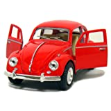 Red 1967 Classic Die Cast Volkwagen Beetle Toy with Pull Back Action (Color: Red, Tamaño: 5