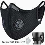 Dust Mask, Beakmil Breathing Mask Activated Carbon Dustproof Mask with Extra Carbon N99 Filter for Pollen Allergy Woodworking Mowing Running Cycling Outdoor Activities