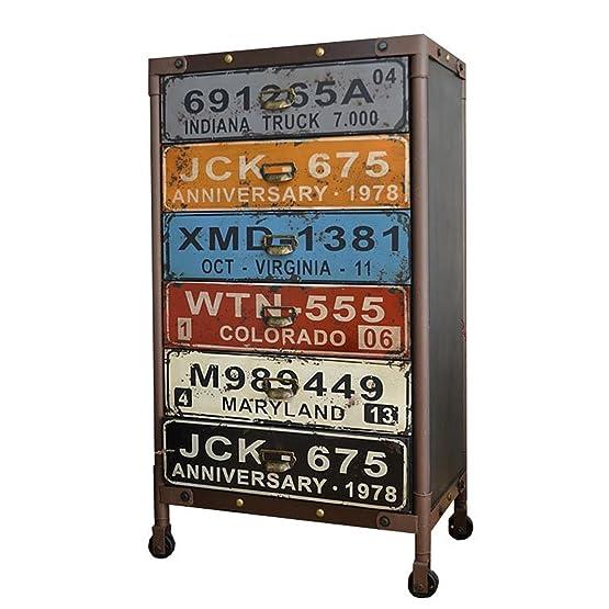 Urban cassettiera con 6cassetti armadio su ruote Loft industriale multicolore