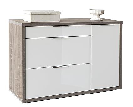Base soggiorno a tre cassetti e anta, struttura color rovere tartufo e frontali laccati bianchi