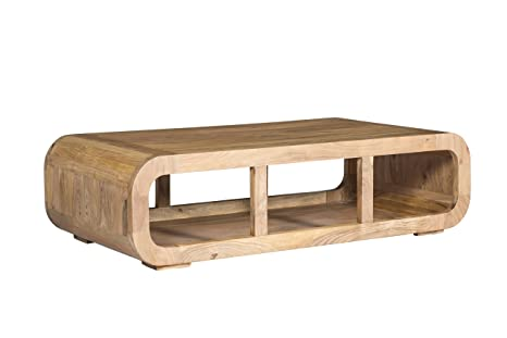 Woodkings® Couchtisch Springston 115x60cm, Holz Akazie natural, Echtholz modern, Design, Massivholz exclusiv, Lounge Coffee Table, TV Bank, TV lowboard, TV unterschrank, TV Möbel curved, gunstig