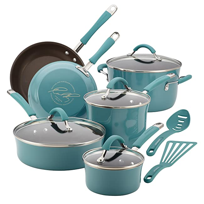 Rachael Ray Cucina Hard Porcelain Enamel Nonstick Cookware Set, 12-Piece Via Amazon