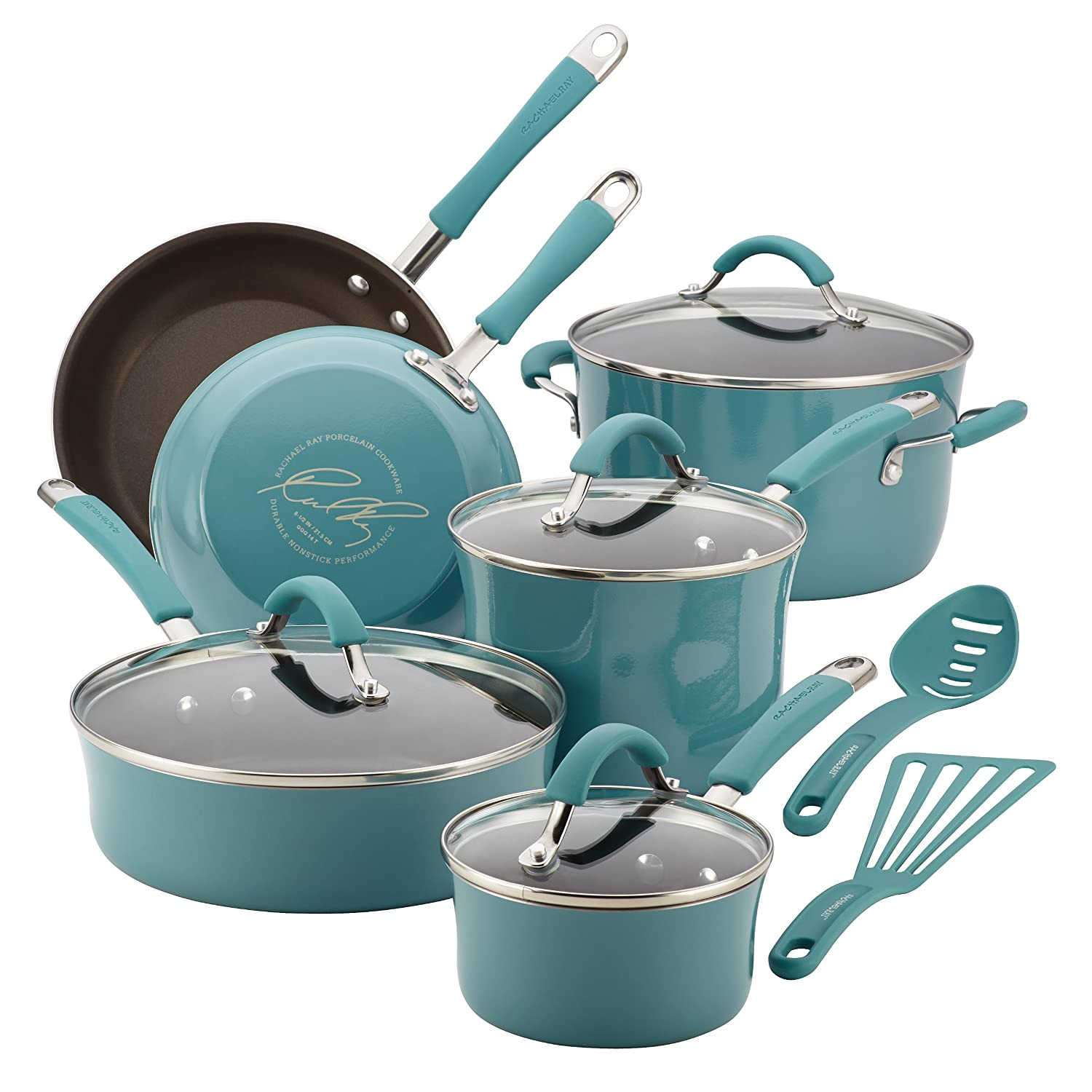 Rachael Ray Cucina Hard Porcelain Enamel Nonstick Cookware Set, 12-Piece, Agave Blue Via Amazon