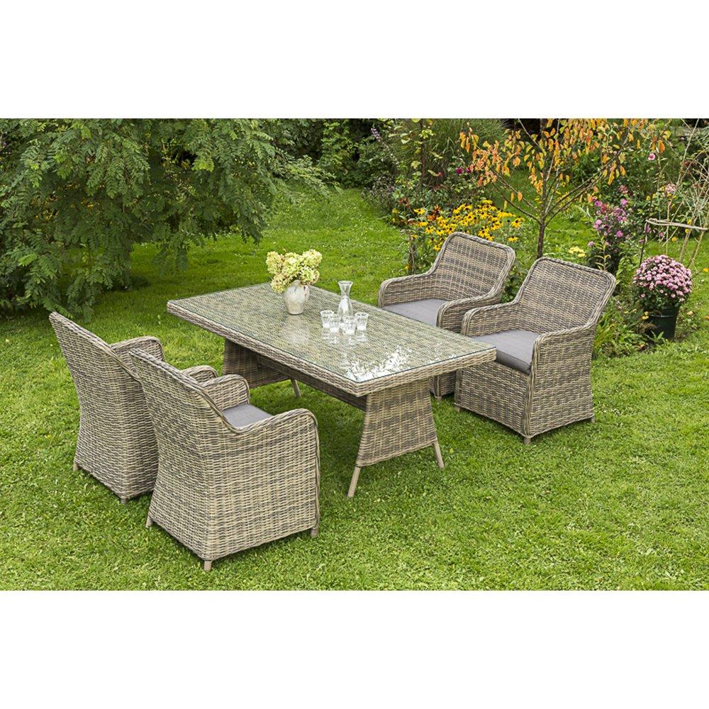 MERXX Gartenmöbel-Set Pistoia 5-tgl. mit Sessel und Tisch 180x90 cm