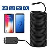 BlueFire Upgraded Super Long 1080P Semi-Rigid Inspection Camera 2 MP HD WiFi Borescope Wireless Endoscope with Zoomable Focus and 1800mAh Battery for Android and iOS Smartphone, Tablet (49.2FT) (Color: WIFI 49.2FT)