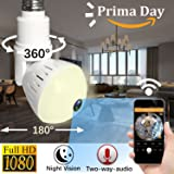 Wireless IP Camera LED Bulb Camera Hidden Camera 360 Degree Panoramic 1080P HD Fisheye for IOS Android APP Remote Home Security System Support for Indoor House Baby Room Pet Fathers Day