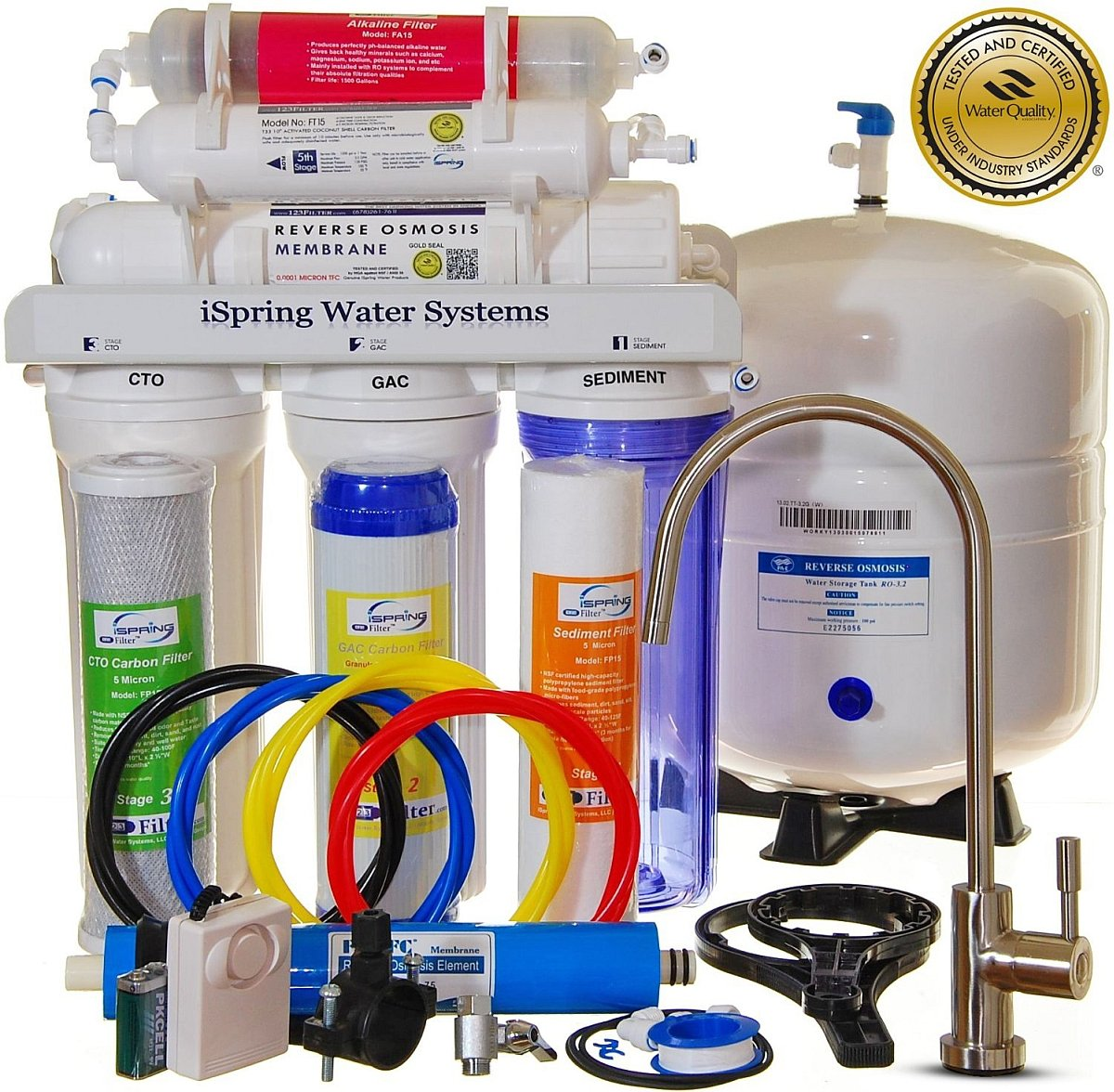 iSpring RCC7AK - Built in USA, WQA Certified Reverse Osmosis 6 Stages 75GPD Under Sink Water Filter