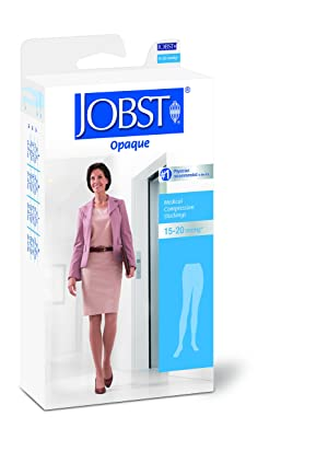 JOBST Opaque Waist High 15-20 mmHg Compression Stockings Pantyhose, Closed Toe, Large, Cranberry (Color: Cranberry, Tamaño: Large)