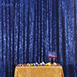 PartyDelight 4ftX7ft Navy Blue Sequin Backdrop Curtain Photo Booth for Wedding Party Birthday Decoration. (Color: Navy Blue, Tamaño: 4FTx7FT)