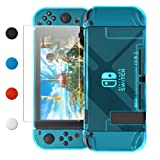 Dockable Case Compatible with Nintendo Switch, FYOUNG Protective Accessories Cover Case Compatible with Nintendo Switch and Nintendo Switch Joy-Con with Thumbstick Caps - Blue (Color: Blue)