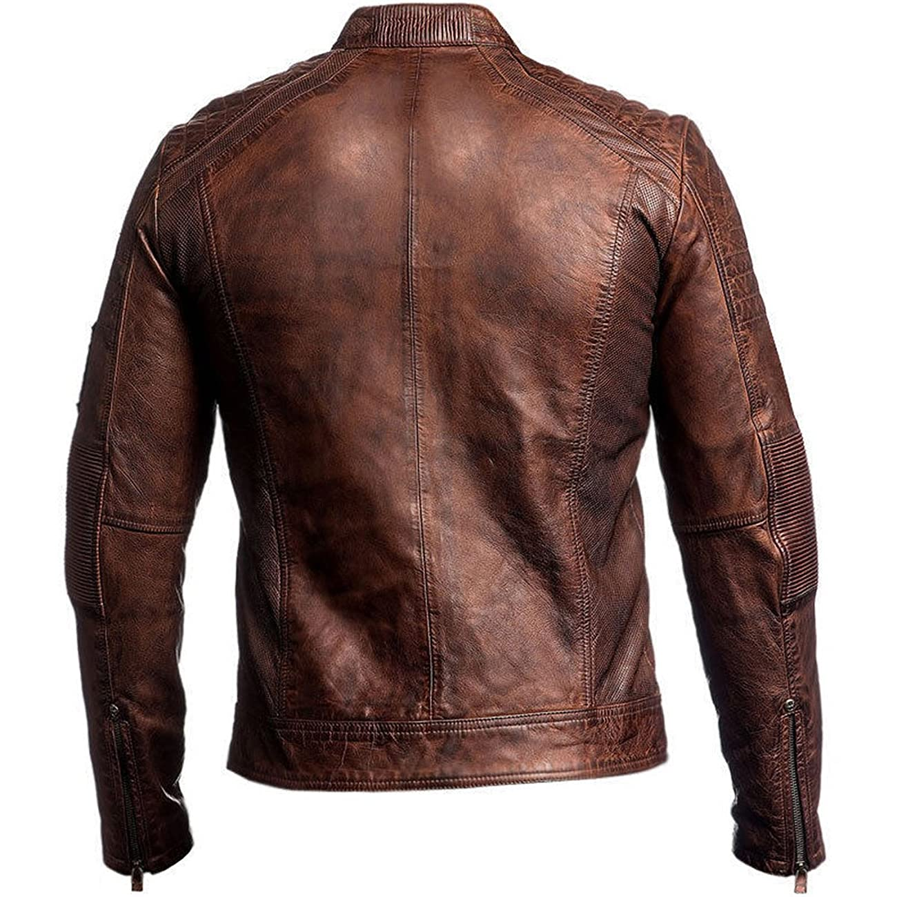 Men's Biker Vintage Motorcycle Distressed Brown Cafe Racer Leather Jacket 2
