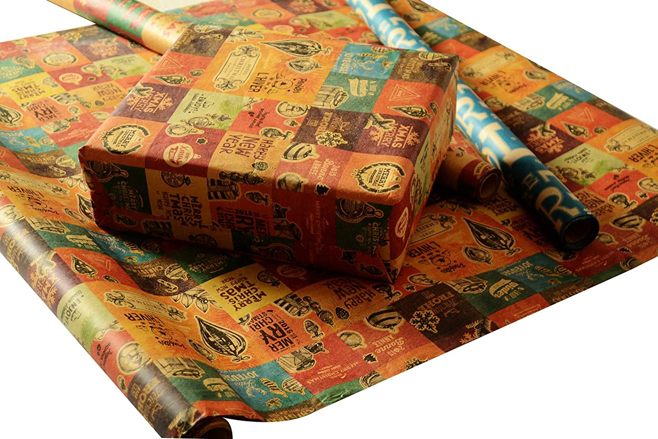 Retro Prints CHRISTMAS KRAFT WRAPPING PAPER (30 inches x 15 feet) 5