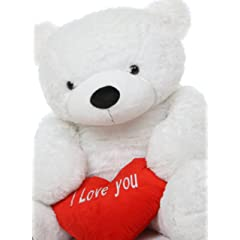 "Sweet Coco Love Cuddles - 55"" - Life Size Cute White I Love You Heart Valentines Day Big Plush Teddy Bear by Giant Teddy"